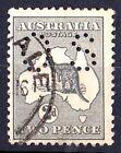 Australia 1915 Kangaroo 2d Grey 3rd Watermark Die 1 Perf OS Used- Listed Variety