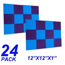 12X12X1 24pcs blue purple  Acoustic Foam Wedge Studio Soundproofing Wall Tiles