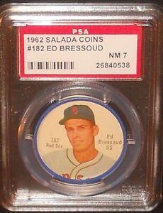 PSA 7 NM 7 - Ed Bressoud 1962 Salada Coins Card Boston Red Sox