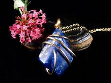 Afghanistan Blue Lapis Lazuli Crystal Pendant in Merlin's Gold (Bronze) #53