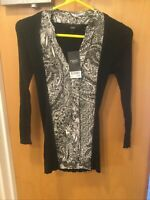 Next Black & White Long Sleeve Dress - UK Ladies Size XS - NEW With Tags
