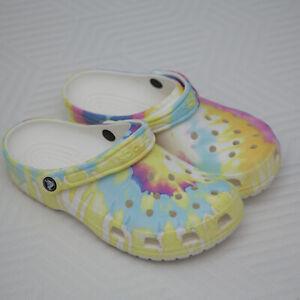 Crocs Womens Tie Dye pastel Slip On rainbow Clog Shoes Size W 9 M 7 Classic