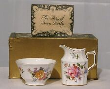 VINTAGE ROYAL CROWN DERBY SUGAR & CREAMER WHITE WITH FLOWERS AND GOLD TRIM  EUC