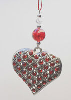 Christmas Tree Ornament Decoration Silver STUDDED Heart
