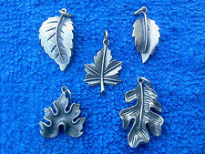 Colorful Autumn Tree Leave 5 Leafs Pewter Charms 5 Styles All New.