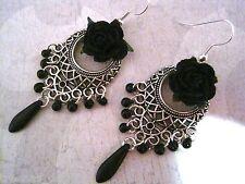 *BEAUTIFUL BLACK ROSE LATTICE* SP Gothic Chandelier Earrings Beaded Gift Bag