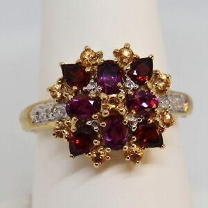 Garnet and Citrine Diamond Ring 10K Yellow Gold Size 7 Cocktail Fashion