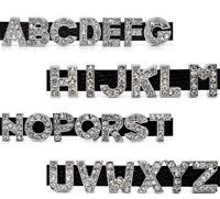 """78 Mix """"A-Z"""" Perlen Strass Buchstaben Schiebperlen Armband Schieber L/P"""