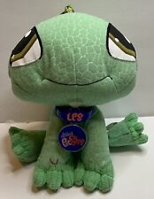 "Littlest Pet Shop LPS Green 9"" Iguana Stuffed Animal Plush Bean Bag Hasbro 2007"
