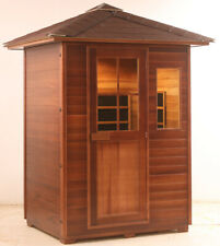 New 3 Person Outdoor Fir Far Infrared Canadian Redwood Cedar Sauna Spa Backyard