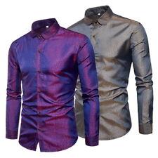 Homme T-Shirt Loisirs Chemise Clubshirt Chemises Tops Manches Longues Soie M-3XL