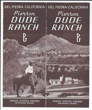 Small foldout Brochure, Pierson Dude Ranch, Del Piedra, California, c1930s-40s