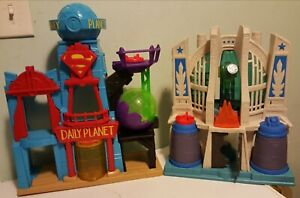 Fisher Price Imaginext Superman Lot Daily Planet Hall of Justice League Playsets