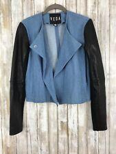 VEDA Black Leather Sleeve Blue Denim Combo Drape Jacket Coat S Small NEW