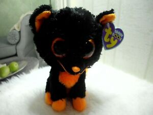 "TY BEANIE BOOS MOONLIGHT THE CAT 6"" PLUSH 2013 BLACK & ORANGE CAT HALLOWEEN CUTE"