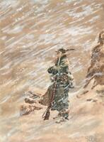 ITALIAN ALPINI MOUNTAIN SOLDIER IN SNOW STORM Original Painting FERÉ 1959