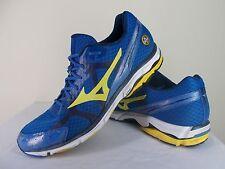 "Mizuno ""Wave Rider 17"" Athletic Running Training Shoes Blue / Yellow Men's 14"