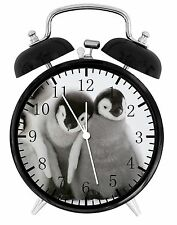 "Cute Baby Penguins Alarm Desk Clock 3.75"" Home or Office Decor E149 Nice Gift"