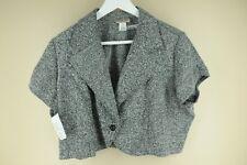 Vintage Women's Speckled Gray Herringbone Short Coat Polyester Blend Size 1X