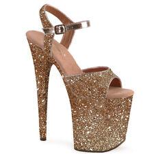 "8"" Pink Glitter Super High Platform Stripper Heels Shoes Pleaser Flamingo-810LG"