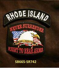 RHODE ISLAND and NEVER SURRENDER Small Patches Set for Biker Vest Jacket