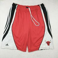Adidas Men's Large Chicago Bulls Red Black Vintage Basketball Casual Shorts NBA