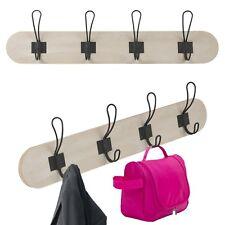 MDF 59x9cm 4 Wood Hook Wall Mounted Coat Rack Organiser Clothes Hanger Bathroom