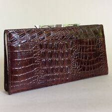 Leather Moc Crocodile 1950s Vintage Large Coin Purse Wallet Brown Leather Lining