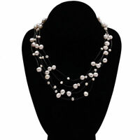 Natural Real 8-10mm White Cultured Freshwater Pearl Galaxy Women Bib Necklace