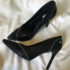 """Black Jumex Size 7 Zip and Snakeskin Effect Shoes 4.5"""" Heel Great Condition"""