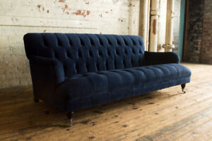 HANDMADE 3 SEATER PLUSH INK NAVY BLUE VELVET LOW CHESTERFIELD SOFA FABRIC COUCH