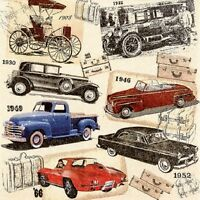 4 x Single Paper Table Napkin/Decoupage/Dining/Craft/Vintage/Classic Cars