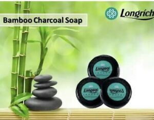 Longrich Natural Essence Bamboo Charcoal Brightening Black Soap,Acne Cure 100gx3