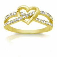 14k Yellow Gold Plated Heart Infinity Celtic Silver Ring