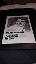 Dean Martin My Woman, My Woman, My Wife Rare Original Promo Poster Ad Framed!