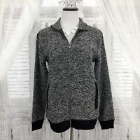 Old Navy SP Small Petite Gray Black Full Zip Jacket Long Sleeve Oversized B18