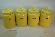 VINTAGE HALL CHINA FLOUR SUGAR TEA COFFEE CANISTER SET RADIANCE YELLOW ART DECO