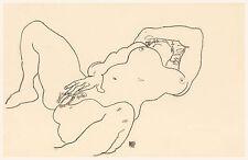 Egon Schiele Drawing Reproductions: Reclining Woman - Fine Art Print
