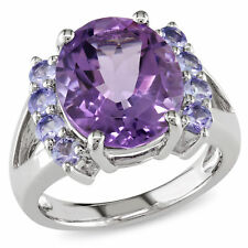 Amour Sterling Silver Oval-cut Amethyst and Tanzanite Cocktail Split Shank Ring