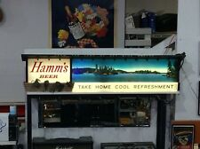 """Vintage 1957 Hamm's Beer Lighted Sign 77"""" Land of Sky Blue Waters Illinois"""