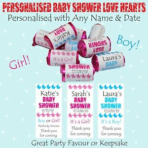 Personalised Baby Shower Love Hearts, Thankyou Gift Table Favour, Boy or Girl