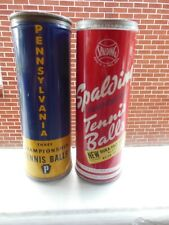 Vintage tennis ball cans(2) metal with key top opening
