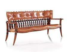 "60"" W Sofa bench brown Italian leather soft backrest solid polished wood frame"