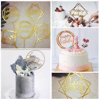 Multi-style Happy Birthday Acrylic Cupcake Toppers Birthday Wedding Cake Decor