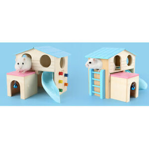 Wooden Hamster House Hideout Hut Rat Exercise Toys for Small Animals Mouse