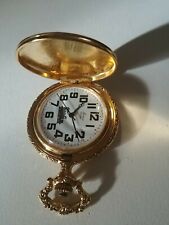 Railroad Design Pocket Watch. Need batterie Arnex Gold Tone Modern Quartz Train