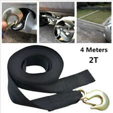 "Car Heavy Duty Tow Winch Strap 2"" Width Rope Hook Boat Trailer Polyester Webbing"