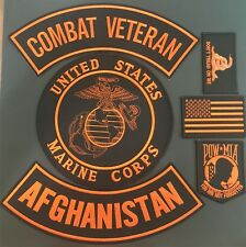 U.S MARINE CORPS COMBAT VETERAN AFGHANISTAN MILITARY LOT OF 6 PATCHES MOTORCYCLE