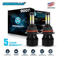 4-sides 9007 HB5 LED Headlight Conversion Kit 1700W 255000LM High Low Beam Bulbs