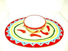 Chili Pepper Platter with Dipping Bowl Colorful Set 2 Pieces
